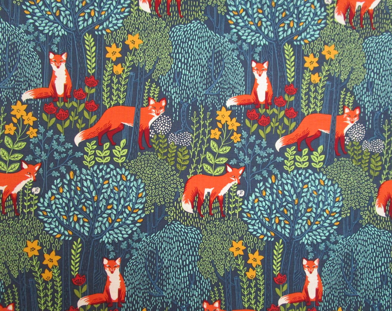 blue fabric with orange fox